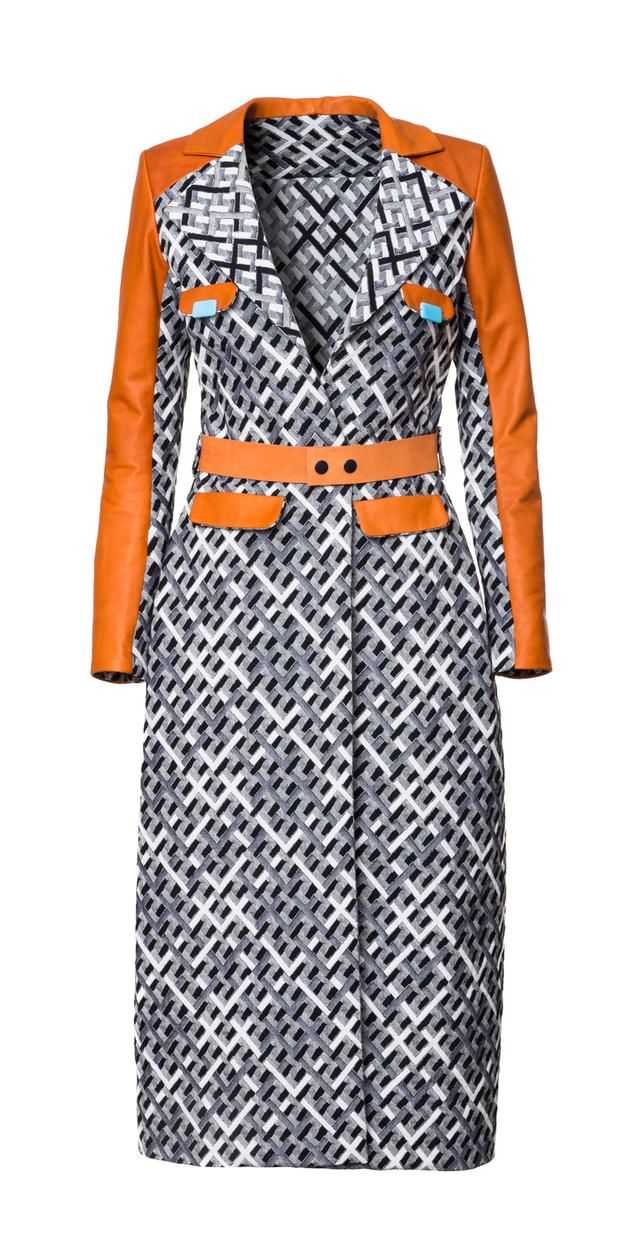 Leather/cotton coat
