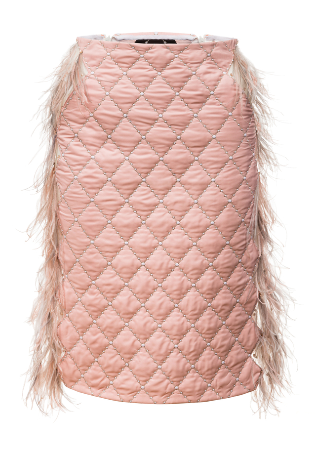 quilted skirt with feathers