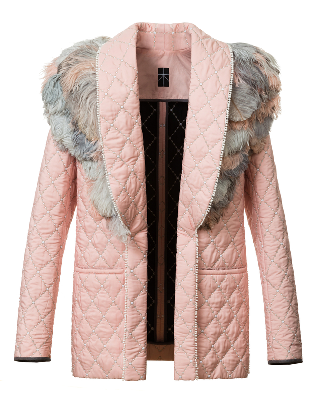 quilted coat with feathers