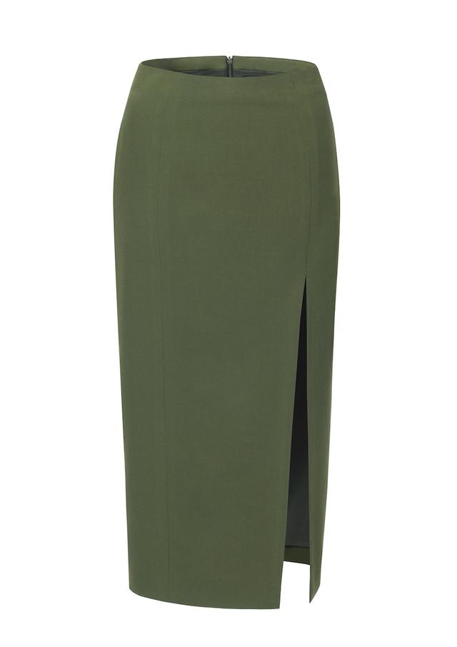 mid-length split pencil skirt