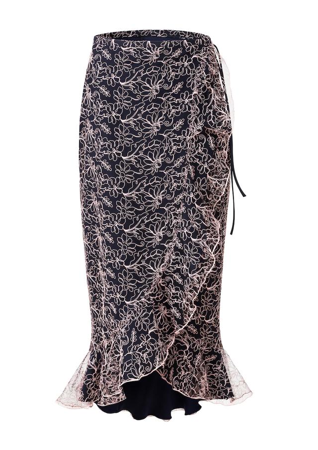 zavinovací sukně s výšivkou