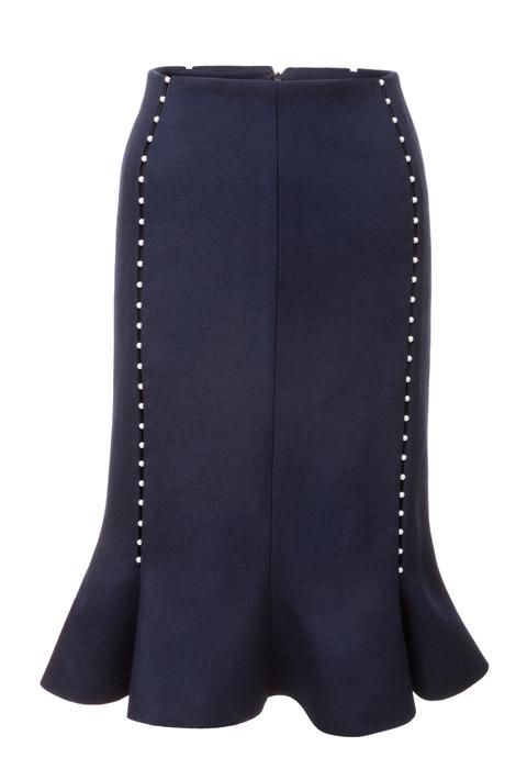 vlněná sukně s perličkovými švy
