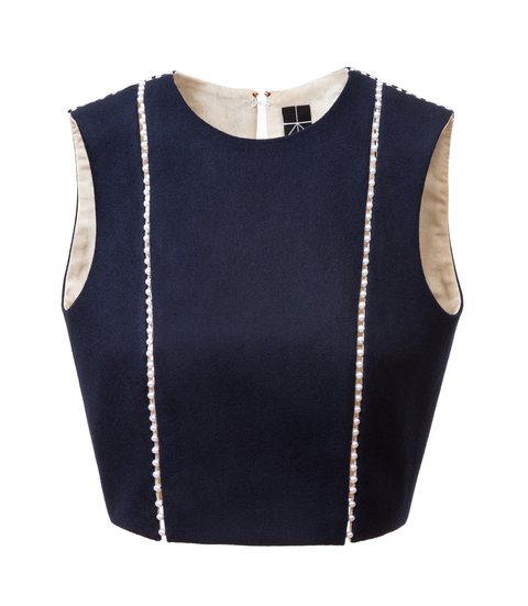 woolen top with pearl seams