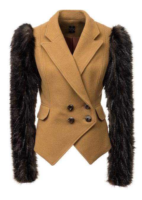vlněný kabát s kožešinovými rukávy