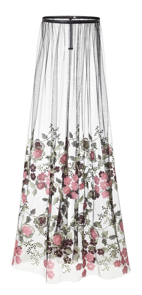 vyšívaná tylová maxi sukně
