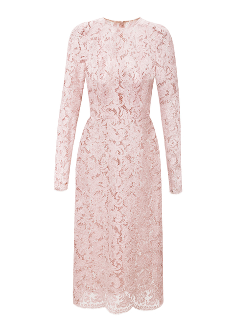 lace mid-length long sleeved dress