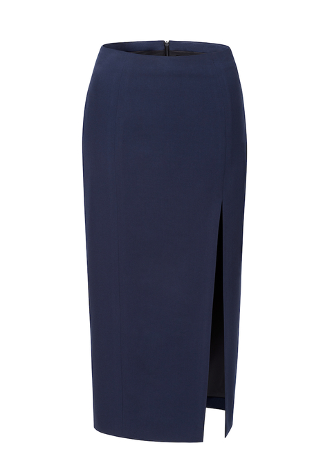 mid-length split pencil skirt